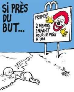 Charlie Hebdo's front cover which features the death of Syrian toddler Aylan Kurdi.